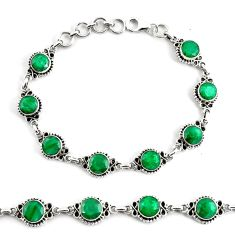 19.04cts natural green emerald 925 silver tennis bracelet jewelry p68071