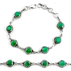 18.43cts natural green emerald 925 silver tennis bracelet jewelry p68072