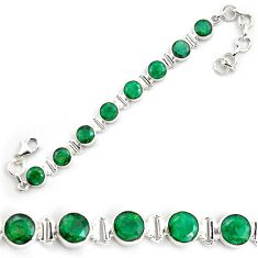 23.29cts natural green emerald 925 sterling silver tennis bracelet p87806