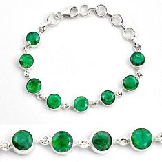 22.32cts natural green emerald 925 sterling silver tennis bracelet p87810