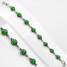 7.58cts natural green emerald 925 sterling silver tennis bracelet p89145