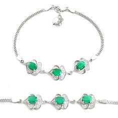 7.62cts natural green emerald topaz 925 sterling silver tennis bracelet c2297