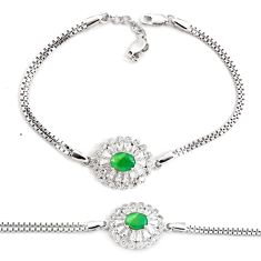 5.42cts natural green emerald topaz 925 sterling silver tennis bracelet c2334