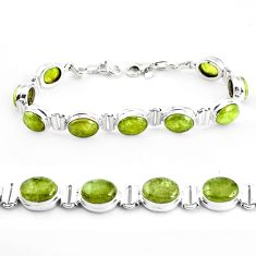 38.27cts natural green garnet 925 sterling silver tennis bracelet p40007