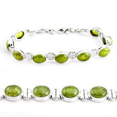 38.25cts natural green garnet 925 sterling silver tennis bracelet p40010