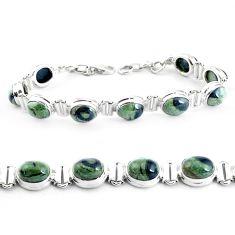 36.14cts natural green kambaba jasper 925 silver tennis bracelet p40043