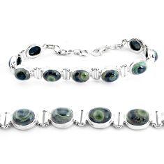 38.16cts natural green kambaba jasper 925 silver tennis bracelet p40044