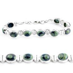 39.91cts natural green kambaba jasper 925 silver tennis bracelet p40046