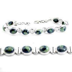 36.99cts natural green kambaba jasper 925 silver tennis bracelet p40047