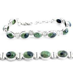 36.99cts natural green kambaba jasper 925 silver tennis bracelet p40048