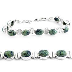 36.92cts natural green kambaba jasper 925 silver tennis bracelet p40049