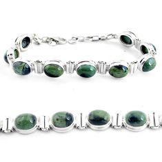 37.41cts natural green kambaba jasper 925 silver tennis bracelet p40050