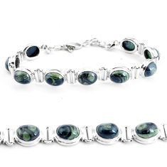 36.63cts natural green kambaba jasper 925 silver tennis bracelet p40051