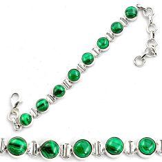 21.22cts natural green malachite (pilot's stone) silver tennis bracelet p87834