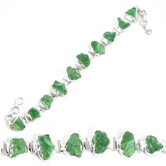 42.86cts natural green moldavite 925 silver tennis bracelet jewelry p34536