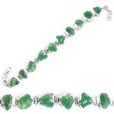 49.89cts natural green moldavite 925 silver tennis bracelet jewelry p34538