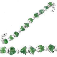 48.05cts natural green moldavite fancy 925 silver tennis bracelet p34539