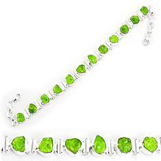 44.03cts natural green peridot rough 925 silver tennis bracelet p69033
