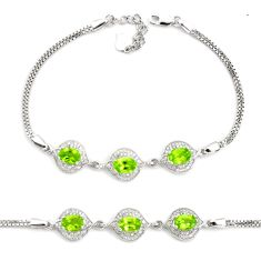 7.40cts natural green peridot topaz 925 sterling silver tennis bracelet c2267