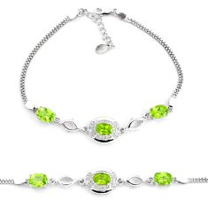 7.51cts natural green peridot topaz 925 sterling silver tennis bracelet c2269