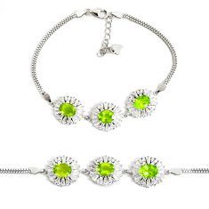 10.67cts natural green peridot topaz 925 sterling silver tennis bracelet c2286