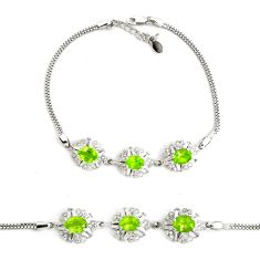 10.26cts natural green peridot topaz 925 sterling silver tennis bracelet c2287