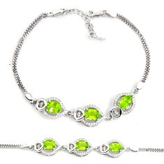 7.99cts natural green peridot topaz 925 sterling silver tennis bracelet c2307