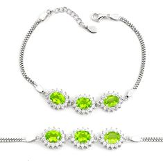 11.11cts natural green peridot topaz 925 sterling silver tennis bracelet c2330
