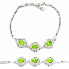 8.89cts natural green peridot topaz 925 sterling silver tennis bracelet c2331