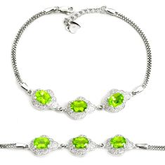 9.72cts natural green peridot topaz 925 sterling silver tennis bracelet c2332