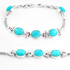 21.03cts natural green peruvian amazonite 925 silver tennis bracelet p54713