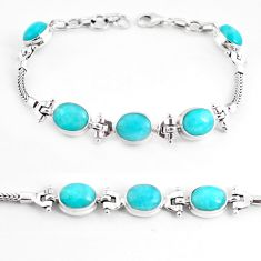 21.72cts natural green peruvian amazonite 925 silver tennis bracelet p54715