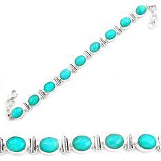 41.21cts natural green peruvian amazonite 925 silver tennis bracelet p70621