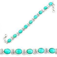 41.19cts natural green peruvian amazonite 925 silver tennis bracelet p70622