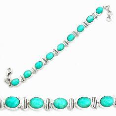 42.29cts natural green peruvian amazonite 925 silver tennis bracelet p70623