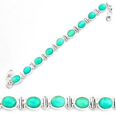 41.48cts natural green peruvian amazonite 925 silver tennis bracelet p70625