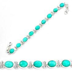 41.55cts natural green peruvian amazonite 925 silver tennis bracelet p70628