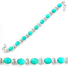 41.86cts natural green peruvian amazonite 925 silver tennis bracelet p70629