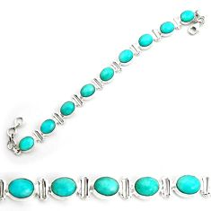 41.61cts natural green peruvian amazonite 925 silver tennis bracelet p70658