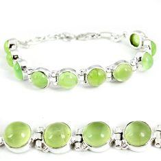 Natural green prehnite 925 sterling silver tennis bracelet jewelry j2507