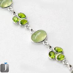 NATURAL GREEN PREHNITE PERIDOT 925 STERLING SILVER LINK BRACELET JEWELRY G16864