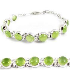 Natural green prehnite round shape 925 sterling silver tennis bracelet h89818