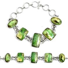 55.27cts natural green swiss imperial opal 925 silver tennis bracelet p46021