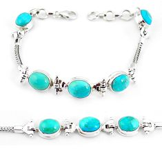 21.72cts natural green turquoise tibetan 925 silver tennis bracelet p54789