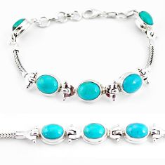 21.04cts natural green turquoise tibetan 925 silver tennis bracelet p54791