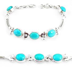 21.03cts natural green turquoise tibetan 925 silver tennis bracelet p54794
