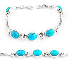 20.80cts natural green turquoise tibetan 925 silver tennis bracelet p54795
