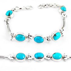 20.22cts natural green turquoise tibetan 925 silver tennis bracelet p54796