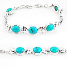 21.04cts natural green turquoise tibetan 925 silver tennis bracelet p54797