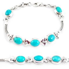 20.54cts natural green turquoise tibetan 925 silver tennis bracelet p54798